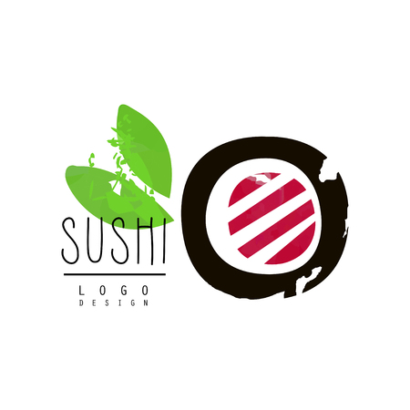 Sushi design, badge for restaurants of Japanese food watercolor vector Illustration Illustration
