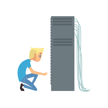 System administrator or network engineer working in data center, network engineer involved in maintenance of system modules cartoon vector illustration. Illustration