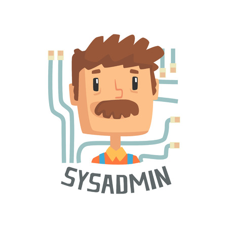 Sysadmin, computer and technical support cartoon vector illustration isolated on a white background.