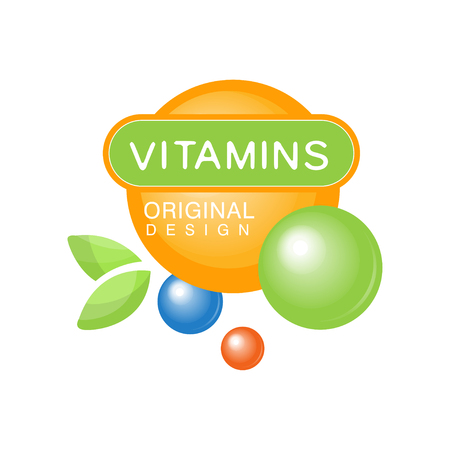 Vitamins colorful logo template original design, herbal supplement, natural medicine vector Illustration isolated on a white background 일러스트
