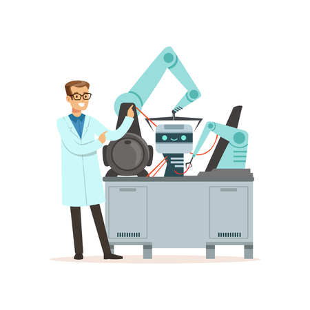 Male scientist and robotic arm conducting experiments in a modern laboratory, artificial intelligence concept vector illustration