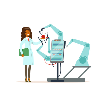 Female scientist and robotic arm conducting experiments in a modern laboratory, robotic arm testing tomato, artificial intelligence concept vector illustration