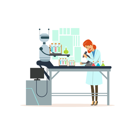Female scientist and robotic arm conducting experiments in a modern laboratory, robotic arm working with test tubes, artificial intelligence concept vector illustration