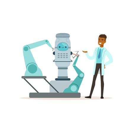 現代の実験室ベクターイラストで実験を行うロボットと協力する男性科学者
