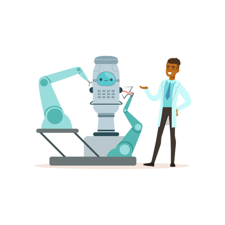 Male scientist working with robot conducting experiments in a modern laboratory vector illustration