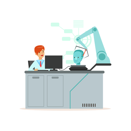 Female scientist and robotic arm conducting experiments in a modern laboratory, research center, artificial intelligence concept vector illustration