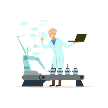 Mature male scientist working with robotic arm conducting experiments in a modern laboratory vector illustration