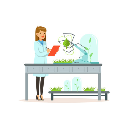 Female scientist and robotic arm conducting experiments in a modern laboratory, robotic arm working and testing green tree leaf, artificial intelligence concept vector illustration Иллюстрация
