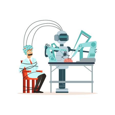 Robot die experiment uitvoert in een laboratorium, man vastgebonden met touw zitten in een helm voor hersenonderzoek, kunstmatige intelligentie concept vectorillustratie geïsoleerd op een witte achtergrond