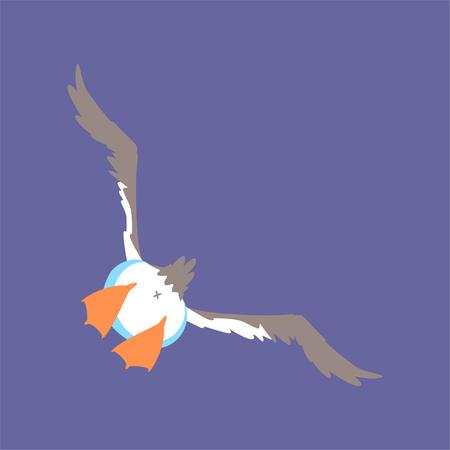 Volo divertente del gabbiano, illustrazione comica sveglia di vettore del fumetto del carattere dell'uccello Vettoriali