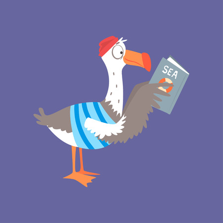 Funny seagull reading a book, cute comic bird character cartoon vector illustration isolated on a blue background Illustration