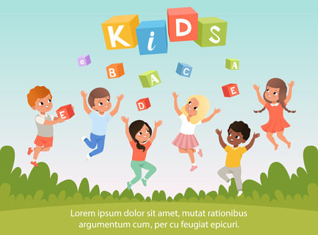 Group of preschool kids with happy faces. ABC cubes. Cartoon children characters. Blue sky and nature on background. Flat vector poster for speech therapy, child development center or kindergarten.