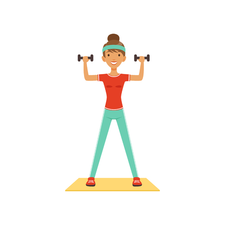 Sportive young woman character exercising with dumbbells, girl working out in the fitness club or gym colorful vector Illustration isolated on a white background