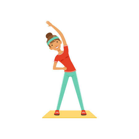 Sportive young woman character exercising, girl working out in the fitness club or gym. Colorful vector Illustration.