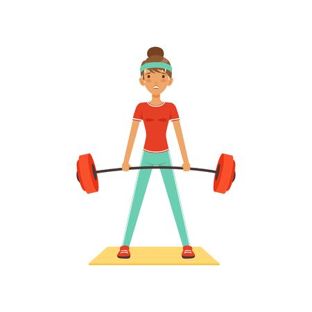 Sportief jong vrouwenkarakter die barbell, meisje opheffen die in de fitness club of gymnastiek uitwerken. Kleurrijke vector illustratie. Stock Illustratie