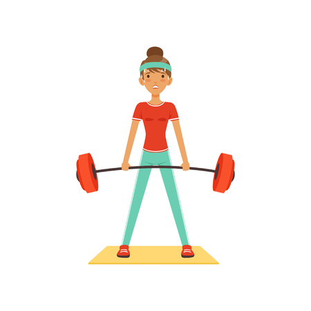 Sportive young woman character lifting barbell, girl working out in the fitness club or gym. Colorful vector Illustration.