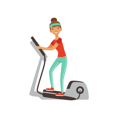 Young woman character exercising with elliptical trainer, girl working out in the fitness club or gym. Colorful vector illustration.