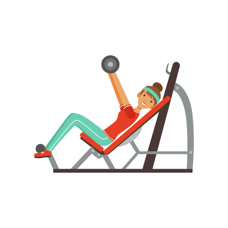 Sportive young woman character exercising with barbell on a bench press, girl working out in the fitness club or gym colorful vector Illustration isolated on a white background Stock Vector - 94434412