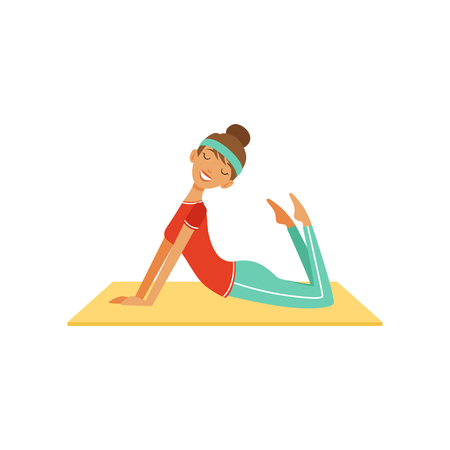 Sportive young woman character doing fitness exercise, girl working out in the fitness club or gym colorful vector Illustration isolated on a white background Banco de Imagens - 94434382