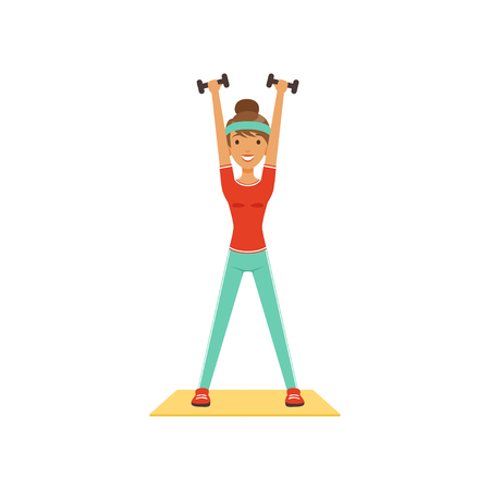 Young woman character exercising with dumbbells, girl working out in the fitness club or gym. Colorful vector illustration.