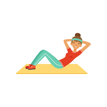 Sportive young woman character doing an abdominal crunches, girl working out in the fitness club or gym colorful vector Illustration isolated on a white background Vectores