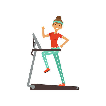 Young woman character running on thread mill, girl working out in the fitness club or gym. Colorful vector illustration.