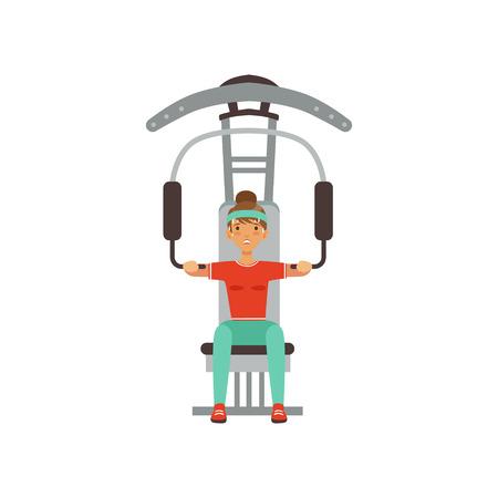 Sportieve jonge vrouw karakter buigen spieren op trainer gym machine, meisje uit te werken in de fitnessclub of gym kleurrijke vector illustratie geïsoleerd op een witte achtergrond