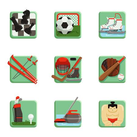 Sport iconen set, schaken, honkbal, voetbal, hockey, golf, sumo, voetbal, curling, ski en schaatsen sport vectorillustraties geïsoleerd op een witte achtergrond Stock Illustratie