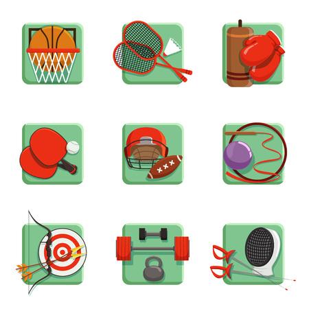 Sport pictogrammen instellen. Boksen, badminton, gymnastiek, schermen, honkbal, boogschieten vectorillustraties.