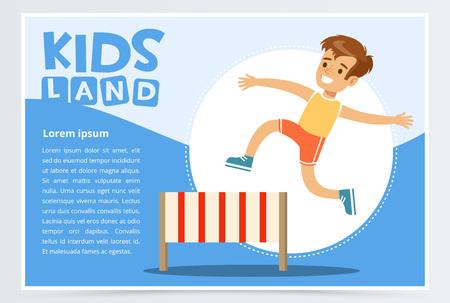 O obstáculo de salto de sorriso do menino desportivo, crianças aterra a bandeira. Elemento do vetor plana para site ou aplicativo móvel. Ilustración de vector