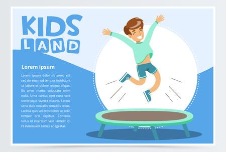 トランポリンに飛び乗る笑顔のアクティブな男の子、子供のランドバナー。ウェブサイトやモバイルアプリのフラットベクトル要素。