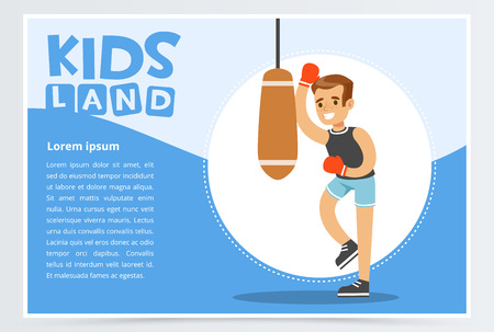 Smiling active boy in red boxing gloves hitting punching bag, kids land banner. Flat vector element for website or mobile app.