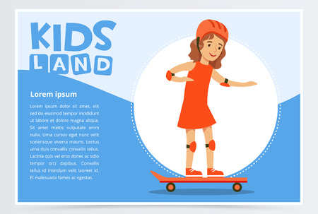 Smiling girl skateboarding, kids land banner flat vector element for website or mobile app with sample text Illustration