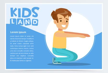 Smiling active boy squatting, kids land banner. Flat vector element for website or mobile app. Illustration