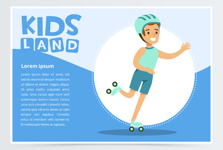 Smiling active boy rollerblading, kids land banner flat vector element for website or mobile app with sample te
