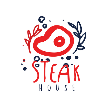 Steak house icon since, vintage label. Colorful hand drawn vector Illustration.