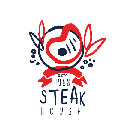 Steak house logo since 1968, vintage label colorful hand drawn vector Illustration isolated on a white background