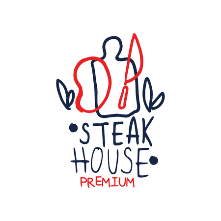 Premium steak house logo template, vintage label colorful hand drawn vector Illustration isolated on a white background
