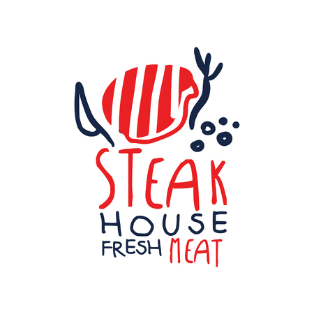 Steak house, freash meat logo template, vintage label colorful hand drawn vector Illustration isolated on a white background