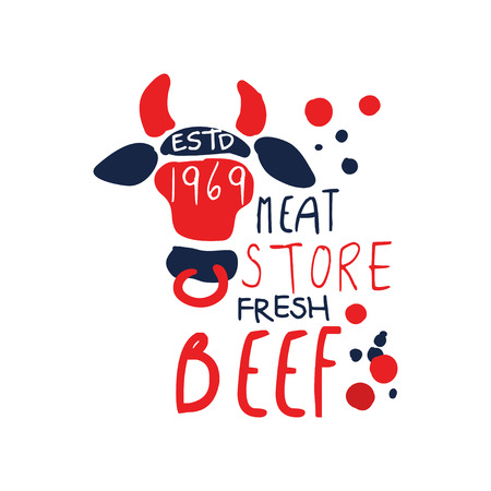 Meat store logo template, premium beef vintage label colorful hand drawn vector Illustration isolated on a white background