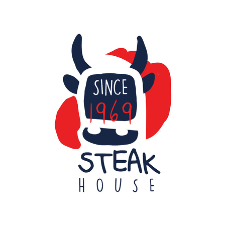 Steak house logo template since 1969, vintage label colorful hand drawn vector Illustration isolated on a white background