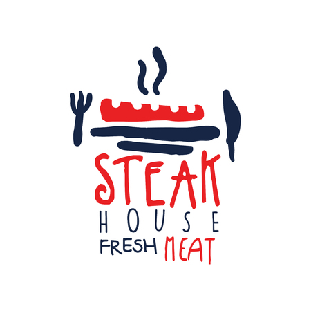 Steak house, freash meat logo, vintage label in red and blue colors hand drawn vector Illustration isolated on a white background
