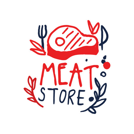Meat store icon template, vintage label. Colorful hand drawn vector Illustration.