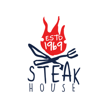 Steak house logo estd 1969, vintage label colorful hand drawn vector Illustration isolated on a white background