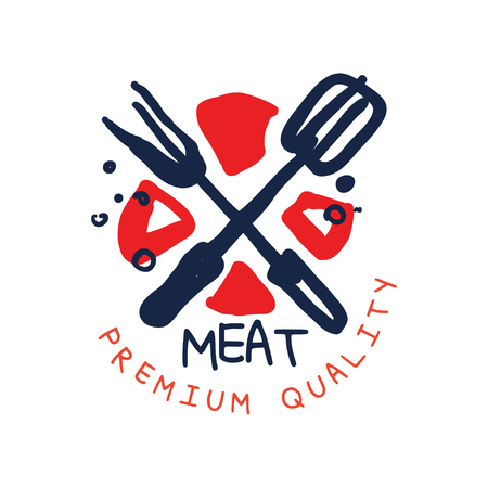 Meat premium quality logo template, vintage label colorful hand drawn vector Illustration isolated on a white background