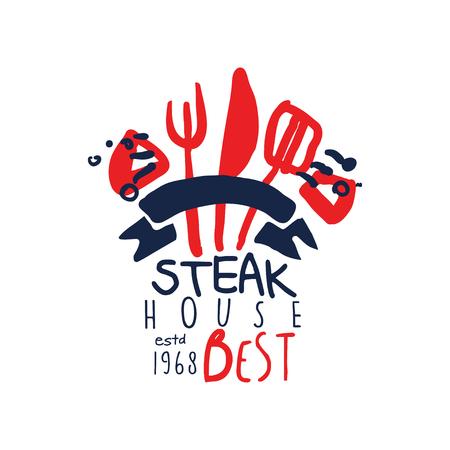 Steak house logo, best estd 1968 vintage label colorful hand drawn vector Illustration isolated on a white background Illustration