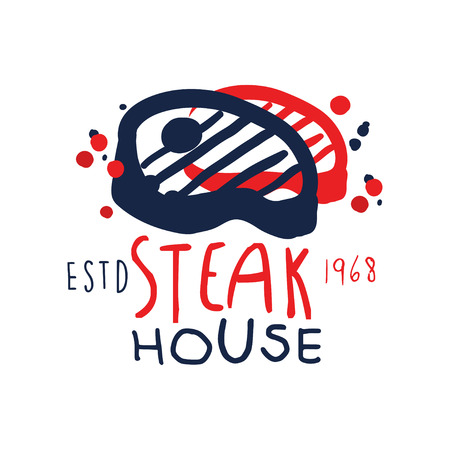Steak house icon template estd 1968, vintage label. Colorful hand drawn vector Illustration.