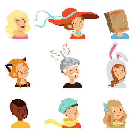 Strange people characters set, different funny faces vector illustrations.