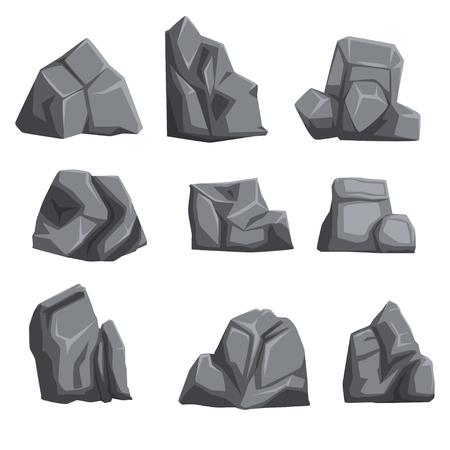 ライトと影を持つ石のセット。異なる形状と灰色の色合いの岩の風景のデザイン要素。白で隔離されたフラットベクトル。