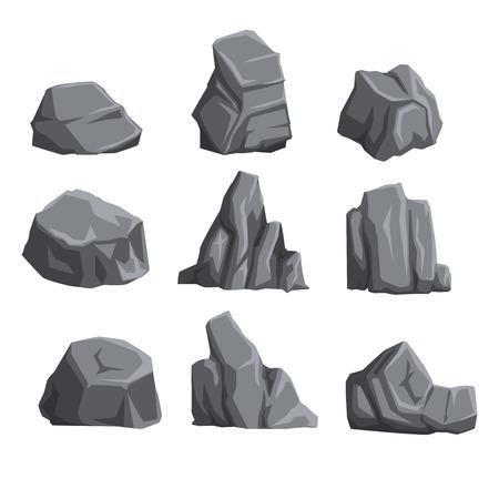 ライトと影を持つ山の石のコレクション。岩の景観設計要素。漫画風のボルダーセット。フラット ベクトルイラストレーション。